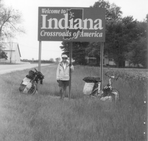 Emily at the entrance to Indiana