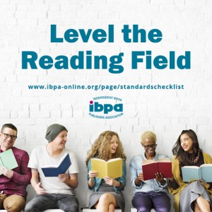 """row of people holding colorful open books with text """"Level the reading field"""""""