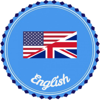 """Word """"English"""" with a flag that is half UK and half US"""