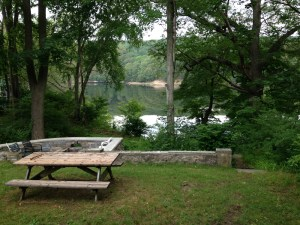 view of river with picnic table