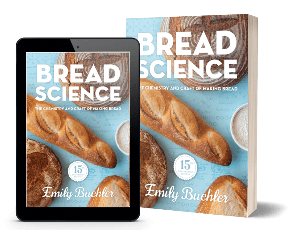 tablet and paperback with cover of Bread Science, 15th anniversary edition