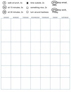 blank calendar with icons for health activities