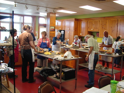 The cooking studio in the middle of the day