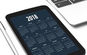 2018 calendar on phone screen