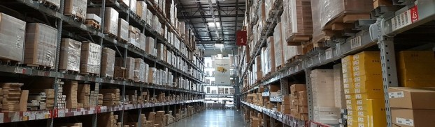 tall shelves in warehouse