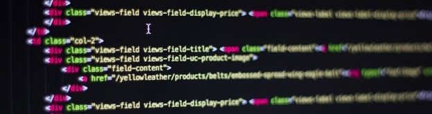 colorful code on a black computer screen