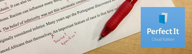 a red pen and edited paper with the PerfectIt logo