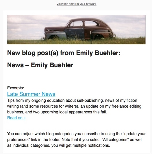 screen capture in preview mode, with blog post information filled in to email campaign
