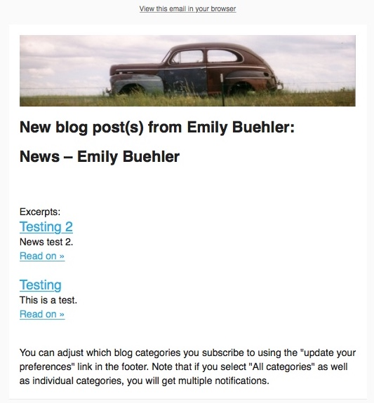 screen capture of preview of email, with two blog posts showing