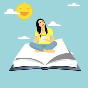 cartoon person sitting on book with sun overhead, she is thinking