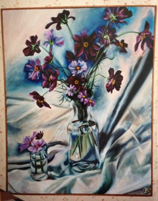 a painting of cosmos flowers in a vase