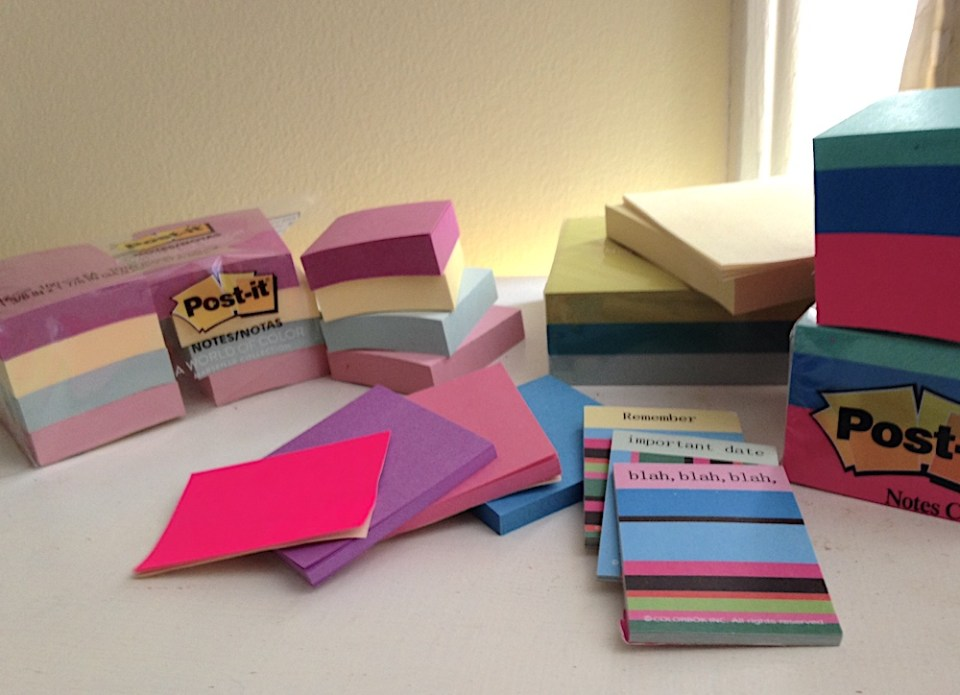 stacks of colorful post-it notes