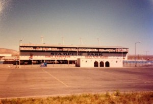 Stampede Park in Cody, Wyoming, with empty parking lot in front of it