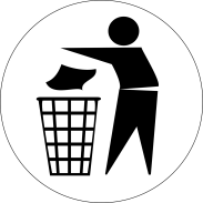 symbol of person throwing paper into trash can