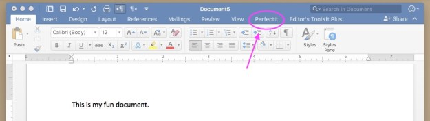screenshot of PerfectIt in the ribbon in Word