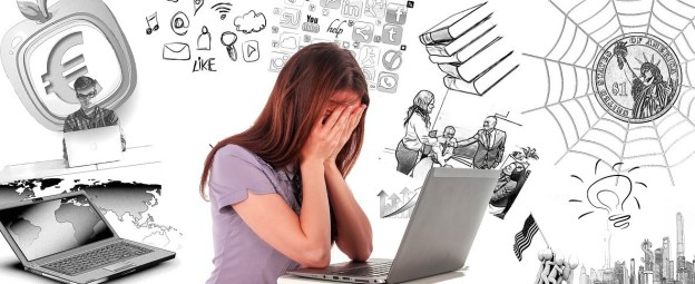 woman at laptop holds face in hands while cartoon images of money, work, and social media swirl overhead