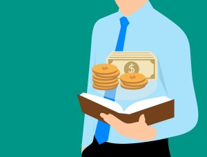 a cartoon person holding a book with money floating out of it