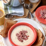 Creamy White Cheddar Grits with Ham