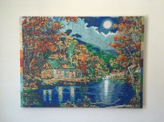"Camp -30"" x 40"", glitter on wood panel, 2015"