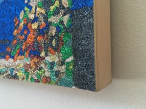 """Camp (detail) - 30"""" x 40"""", glitter on wood panel, 2015"""