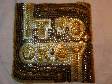 """SOLD! It's Okay #1 - 6"""" x 6"""", sequins on canvas, 2012"""