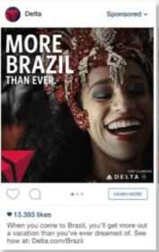Delta Airlines Sponsored Instagram Advert