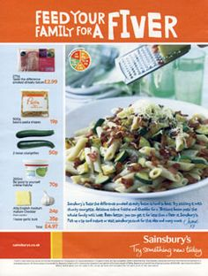 Courgette Pasta Recipe Card - Sainsbury's - in store
