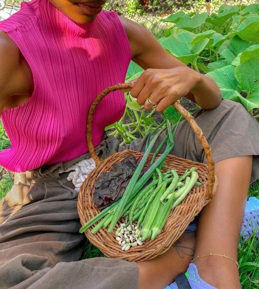 Black women gardening