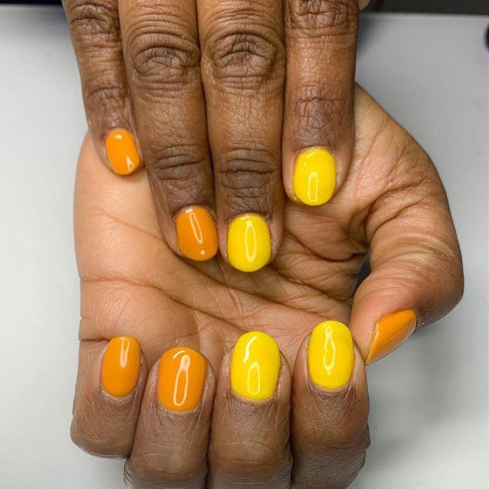 orange and yellow nail polish
