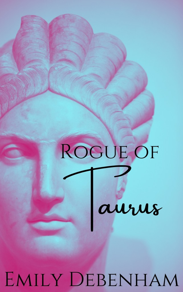 """book cover that has a pink highlighted roman statue title """"Rogue of Taurus"""""""