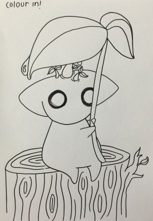 A picture of a villager for the little ones to colour in, this is before it was scanned and edited ready for copying