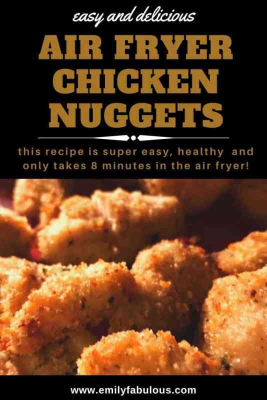 air fried chicken nuggets with breadcrumb and parmesan coating