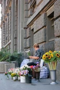 Flower vendor in Belgrade.