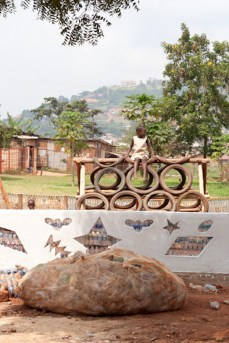 "Ruganzu Bruno, a local artist, created this ""EcoArt"" playstructure for children in Banda."
