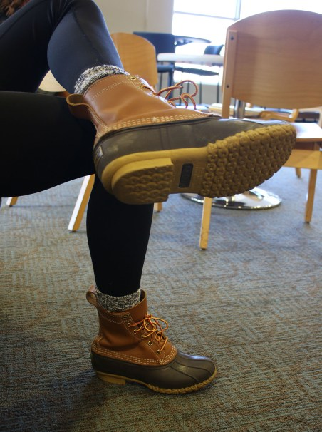 Maddison Daniels states that she wears boots to class to protect her feet from getting wet from melting snow, Woldt/Emmons Lobby, on the campus of Central Michigan University, Monday, February 27, 2017.