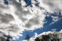 Sun filled the sky but was blocked by the clouds on the Campus of Central Michigan University, Mount Pleasant, Michigan, Thursday, February 23, 2017.