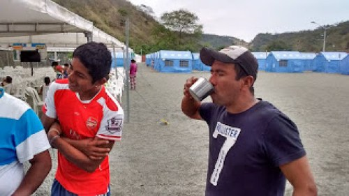 Drinking water at earthquake camp