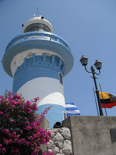 Lighthouse on Santa Ana Hill painted Guayaquil colors