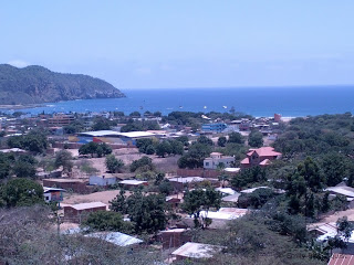 View of Puerto Lopez, Ecuador from hillside home