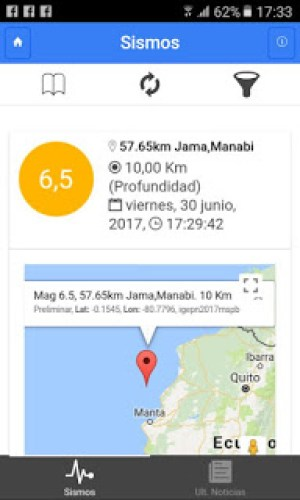 Jama earthquake Sismos reading