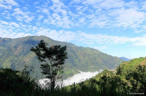 Looking down on Ecuador Andes fog