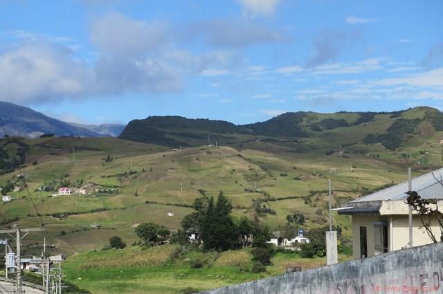 Small town along Ecuador Andes road