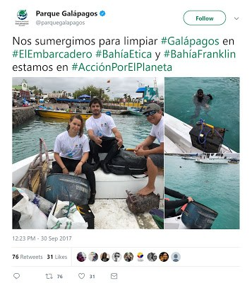 Parque Galápagos tweet - cleaning ocean floor