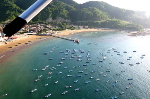 Puerto Lopez boats from ultralight flight