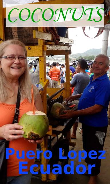 Coconut water on the beach, Puerto Lopez, Ecuador