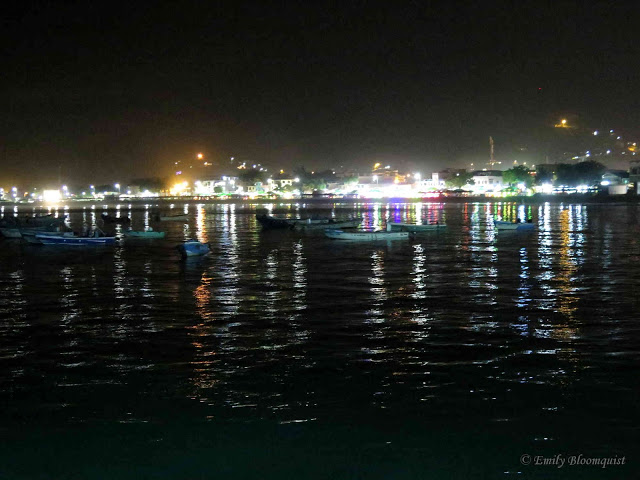 Puerto Lopez malecon lights reflecting off ocean