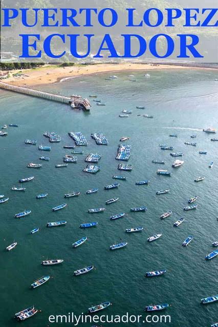 Boats from ultralight over Puerto Lopez, Ecuador