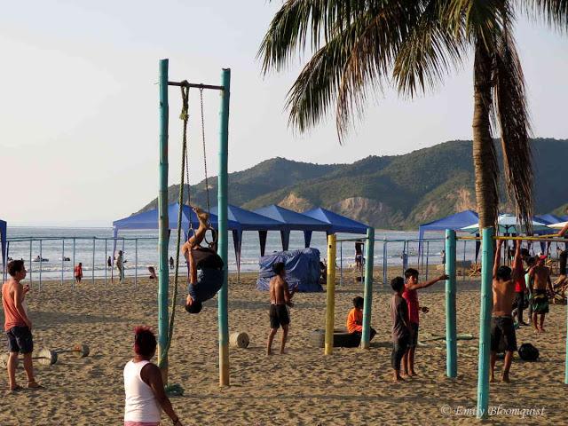 Workout area on Puerto Lopez beach