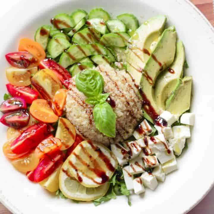 Caprese Salad Grain Bowl from Emily Kyle Nutrition