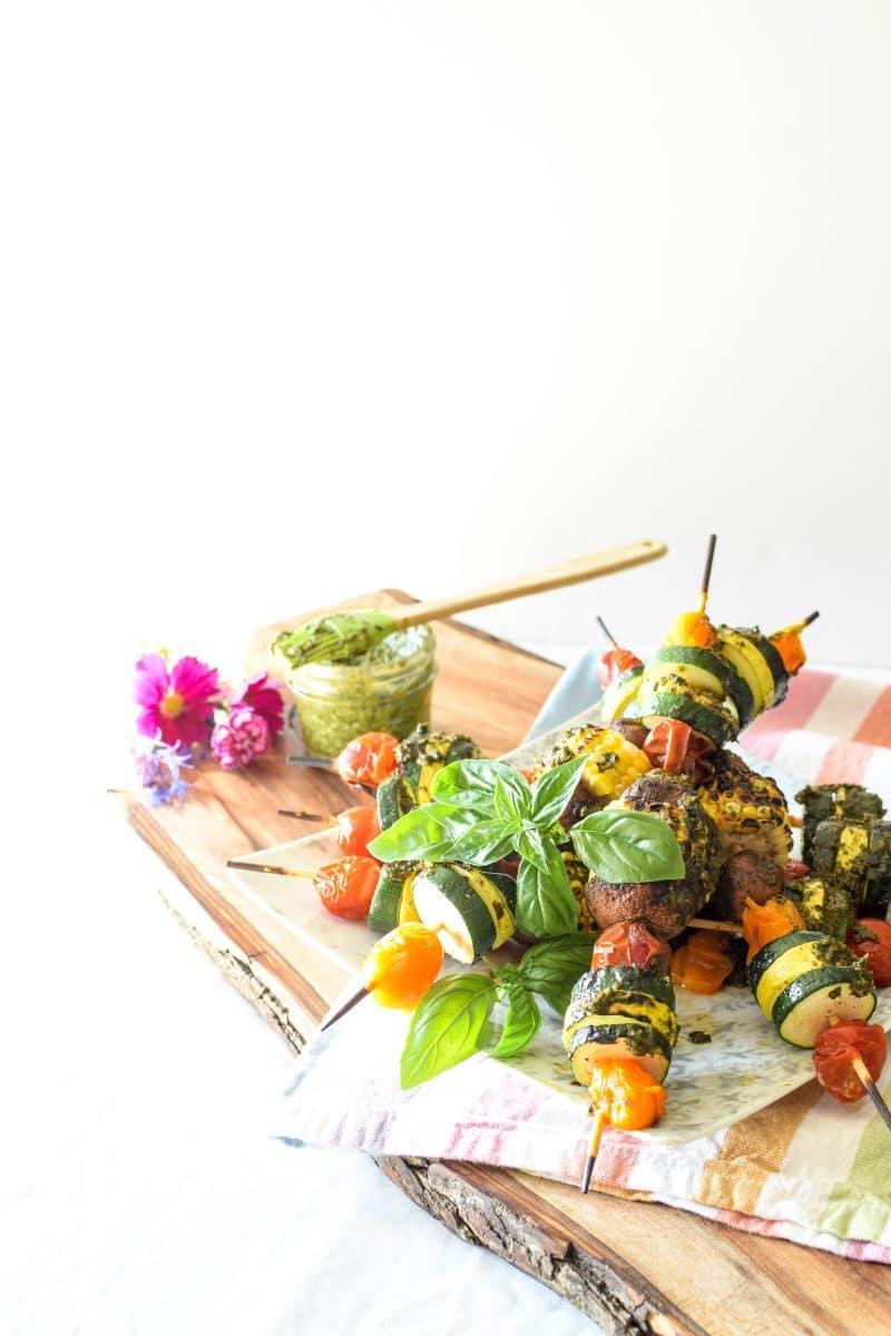 Garden Harvest Veggie Pesto Skewers by Emily Kyle Nutrition